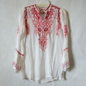 Johnny Was Embroidered Pleated Long Sleeve Blouse